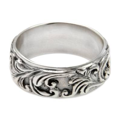 Sterling silver band ring, 'Flourishing Foliage' - Leaf and Tree Sterling Silver Band Ring