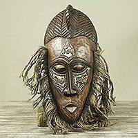 African wood and aluminum mask, 'Frafra Dancer' - Original African Tribal Dance Mask Crafted in Wood and Metal