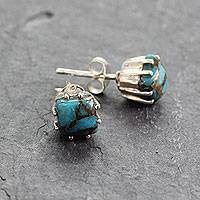 Sterling silver stud earrings, 'Ocean Sky' - Sterling Silver Stud Earrings with Composite Turquoise