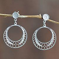 Sterling silver filigree dangle earrings, 'Tondero Dancer' - Filigree Sterling Silver Earrings Crafted by Hand in Peru