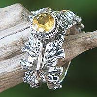 Citrine and sterling silver stacking rings, 'Elephant Shrine' (set of 3) - Citrine and Silver Stacking Rings (Set of 3) from Indonesia