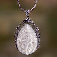 Bone and amethyst pendant necklace, 'Lord Ganesha' - Sterling Silver Necklace with Bone and Amethyst Medallion