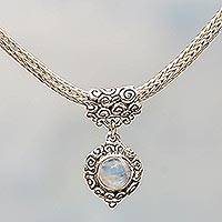 Rainbow moonstone choker, 'Infinite Sky' - Sterling Silver Rainbow Moonstone Necklace