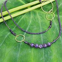 Gold plated amethyst beaded necklace, 'Precious Lavender' - Artisan Crafted Gold Plate and Amethyst Wrap Beaded Necklace