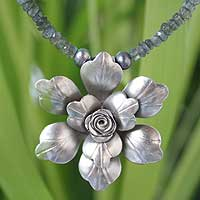 Labradorite and pearl flower necklace, 'Pale Moon Bloom' - Labradorite and Silver Pendant Necklace