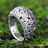 Sterling silver dome ring, 'Temple' - Artisan Crafted Sterling Silver Dome Ring