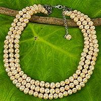 Pearl strand necklace, 'Triple Halo' - Pearl Strand Necklace
