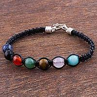 Multi-gemstone macrame beaded bracelet, 'The Rainbow' - Multigem Carnelian Macrame Bracelet with Leather from Peru