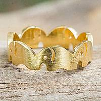 Vermeil band ring, 'Pachyderm Party' - Gold Vermeil Elephant Band Ring Handcrafted in Thailand