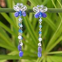Lapis lazuli waterfall earrings,