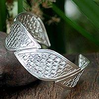 Sterling silver cuff bracelet, 'Woven Rapture' - Hill Tribe Sterling Silver Cuff Bracelet from Thailand