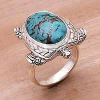Men's sterling silver cocktail ring, 'Chelonia Turtle' - Men's Sterling Silver and Reconstituted Turquoise Ring