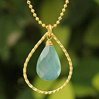 Gold vermeil pendant necklace, 'Empress' - Hand Crafted Vermeil and Chalcedony Necklace