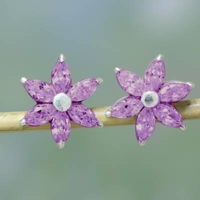 Amethyst flower button earrings, 'Sweet Lilac Blossom' - Sparkling Button Earrings with Amethysts from India