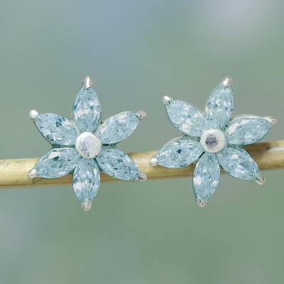 Blue topaz flower button earrings, 'Sweet Blue Blossom' - Faceted Blue Topaz Sparkling Button Earrings from India