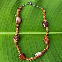 Agate beaded necklace, 'Trindade Heritage' - Agate Beaded Necklace with Silver 950 Clasp