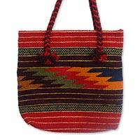 Wool tote handbag, 'Zapotec Lightning' - Fair Trade Geometric Patterned Wool Tote Bag