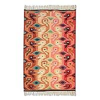 Wool area ug, 'Lucky Duck' (3x5) - Multicolor Peruvian Artisan Woven Wool Rug
