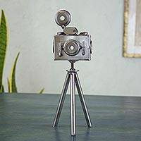 Upcycled metal sculpture, 'Rustic Camera' - Mexico Eco Friendly Recycled Metal Camera Sculpture