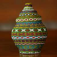 Beaded rattan basket, 'Jade Ginger Jar' - Colorful Beaded Rattan Jar-Shaped Basket