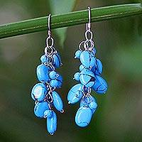 Cluster earrings, 'Clouds' - Beaded Turquoise Colored Earrings