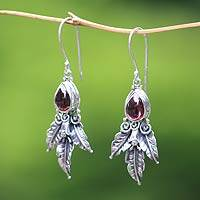 Garnet dangle earrings, 'Temptation' - Garnet and Sterling Silver Dangle Earrings