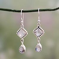 Rainbow moonstone dangle earrings,