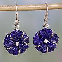 Lapis lazuli dangle earrings, 'Bursting Blossoms' - Artisan Crafted Lapis Lazuli Flower Earrings with Silver 925