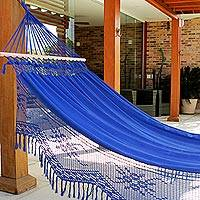 Cotton hammock with spreader bars, 'Tropical Blue' (single) - Blue Cotton Hammock with Crocheted Fringe (Single)