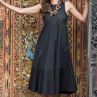 Cotton dress, 'Cool in Black' - Sleeveless Midi Cotton Dress from Bali
