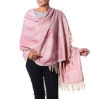 Wool shawl, 'Paisley Delight' - Pastel Colored Wool Paisley Shawl Woven in India