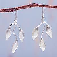 Silver flower earrings, 'Leaves and Shadow' - Fine Silver Dangle Earrings