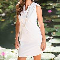 Cotton shift dress, 'Lily in White' - Handcrafted Solid White Cotton Sleeveless Shift Dress
