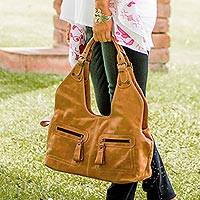 Leather shoulder bag, 'Bountiful' - Brown Hand Crafted Leather Shoulder Bag from Mexico