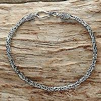 Sterling silver chain bracelet, 'Borobudur Collection II' - Sterling Silver Chain Bracelet 925 Artisan Jewelry from Bali