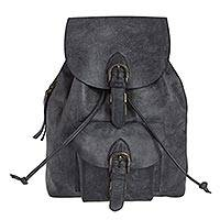 Leather backpack, 'Dark Grey Highroad' - Sturdy Dark Grey Leather Backpack from Mexico