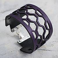 Leather wristband bracelet, 'Purple Equilibrium' - Purple Leather and Sterling Silver Wristband Bracelet