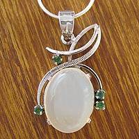 Moonstone and emerald pendant necklace, 'Illusion' - Moonstone and emerald pendant necklace