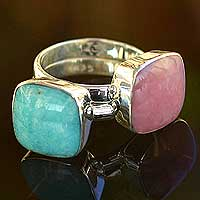 Rose quartz and amazonite solitaire rings, 'Duality' (pair) - Sterling Silver Stacking Amazonite Rose Quartz Ring (Pair)