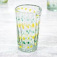 Blown glass tumbler glasses, 'Fresh' (set of 6) - Green and Yellow Handcrafted Blown Glass Tumblers (Set of 6)