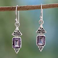 Amethyst dangle earrings, 'Lilac Lantern' - Handcrafted Indian Sterling Silver and Amethyst Earrings