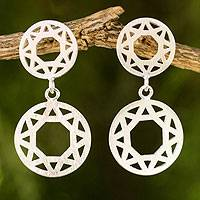 Sterling silver dangle earrings, 'Geometric' - Fair Trade Brushed Sterling Silver Geometric Earrings