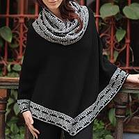 100% alpaca poncho, 'Huarascaran Night' - Fair Trade Women's Alpaca Wool Knit Poncho