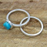 Turquoise and sterling silver stacking rings, 'Sky Glow' (pair) - Handcrafted Taxco Silver Turquoise Stacking Rings (Pair)