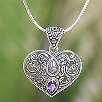 Amethyst pendant necklace, 'Tears from the Heart' - Balinese Amethyst Heart Necklace in Sterling Silver