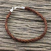 Leather wristband bracelet, 'Style and Strength in Mahogany' - Leather Braided Wristband Bracelet in Mahogany from Thailand