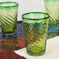 Drinking glasses, 'Contoured' (set of 6) - Collectible Handblown Glass Green Tumbler Drinkware Set of 6