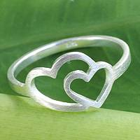 Sterling silver heart ring, 'Love Unites' - Thai Jewelry Sterling Silver Handmade Ring