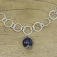 Lapis lazuli link necklace, 'Love Foretold' - Artisan Crafted Sterling Necklace with Lapis Lazuli Pendant