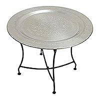 Aluminum folding tray table, 'Mumbai Memories' - Folding Etched Aluminum Tray Table Crafted in India